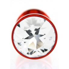 Анальная пробка Diogol ANNI round red 30мм, с кристаллом Swarovsky